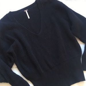 Free People Black V Neck Sweater